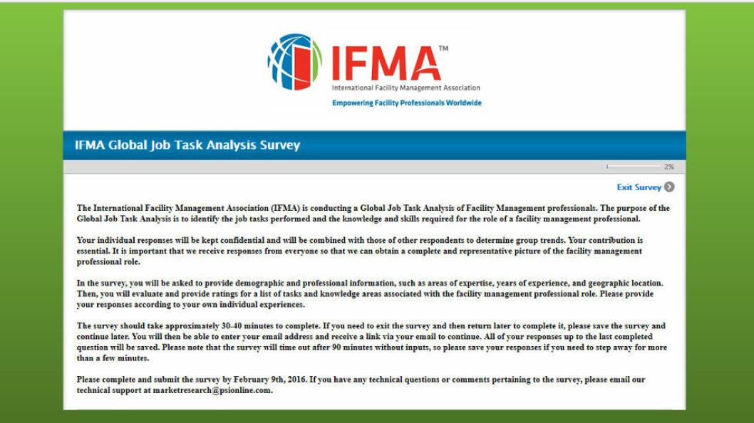 Faksimile fra IFMAs spørreundersøkelse.
