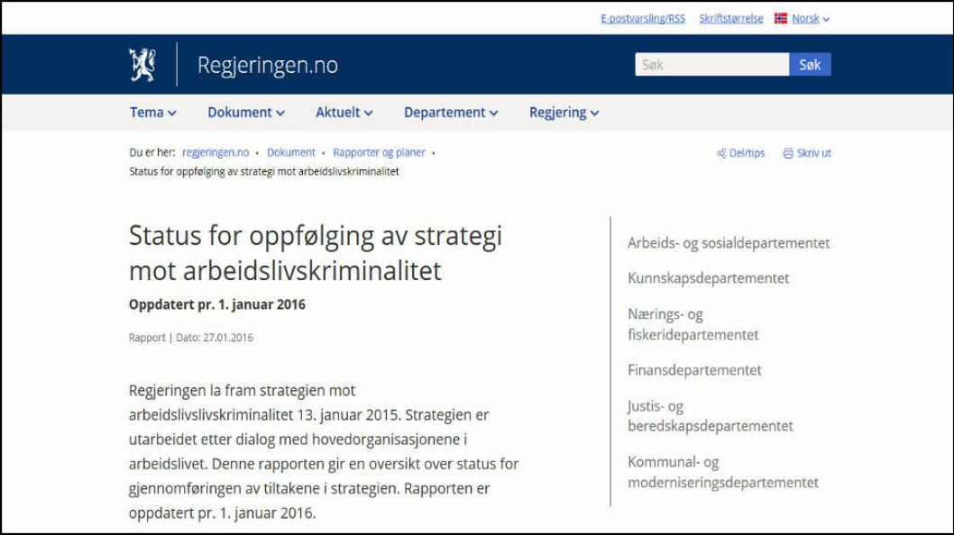Faksimile fra Regjeringens melding om arbeidslivskriminalitet 27/1-2016.