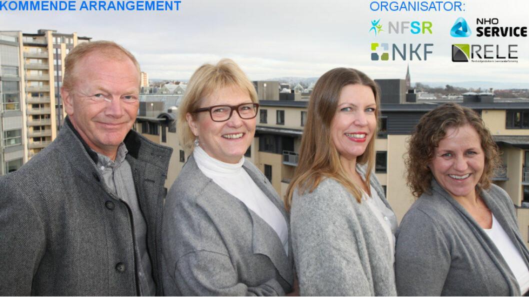 Ønsker velkommen til FDV 2017: Rune Sparboe (RELE), Anne Jensen (NHO Service), Elisabeth Leikanger (NKF), Una Stefansdottir Ugelvik (NFSR). Foto: Baard Fiksdal, NHO Service