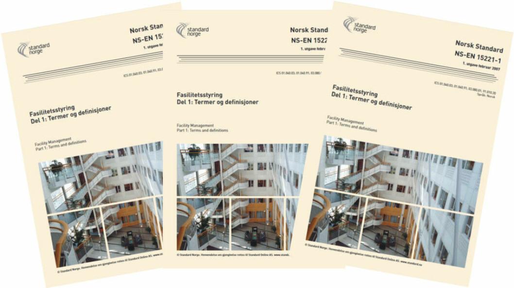 Europeisk standard NS-EN 15221 for fasilitetsstyring kan snart få en verdensomspennende kollega fra ISO. Ill. etter Standard Norge.