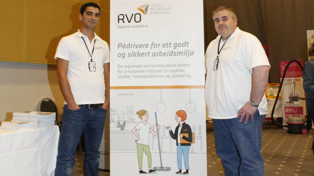 Ibrahim Yener og Steve Mutch er to av ialt seks regionale verneombud for renholdsbransjen, og de to som har kontorsted i Oslo (arkivfoto).