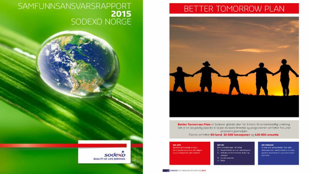 Faksimile fra Sodexos samfunnsansvarsrapport for 2015.