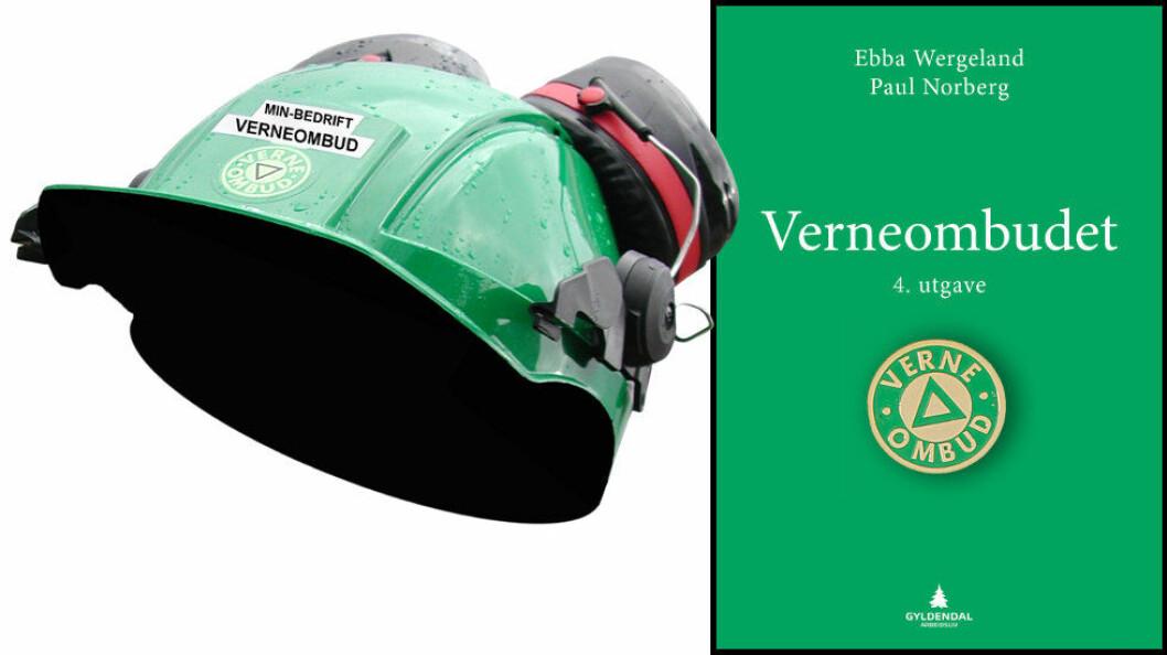 Bokomslaget til «Verneombudet» ses til høyre. Illustrasjon etter Gyldendal Akademisk.