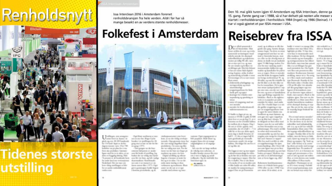 Forrige renholdsmesse i Amsterdam ble avholdt 10.-14. mai 2016 og fyldig omtalt i Renholdsnytt nr. 3-2016 (faksimile fra bladet, fotos: Pål Sønsteli)