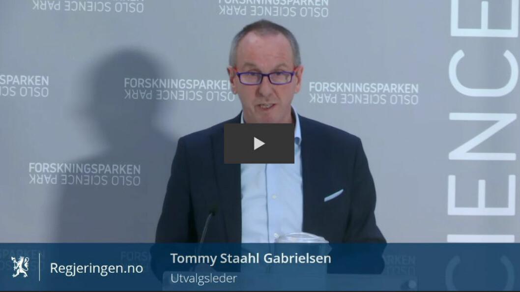Utredningen ble fremlagt av utvalgsleder Tommy Staahl Gabrielsen 6. februar 2017. Foto: Regjeringen