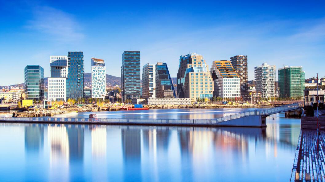Særlig i byene er det sterk konkurranse og et intenst prispress på renholdstjenestene. (Ill.foto fra Bjørvika i Oslo: Morten Normann Almeland/Colourbox)