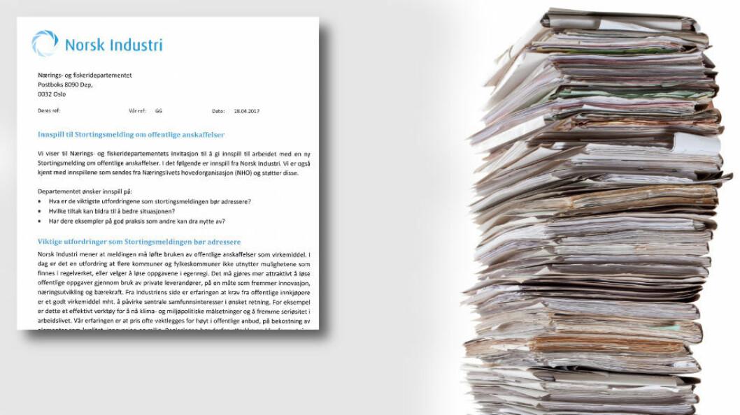 Norsk Industri ønsker bindende avgjørelser fra Klagenemnda for offentlige anskaffelser (Kofa). (Illustrasjon: Faksimile fra Norsk Industris uttalelse + Colourbox)