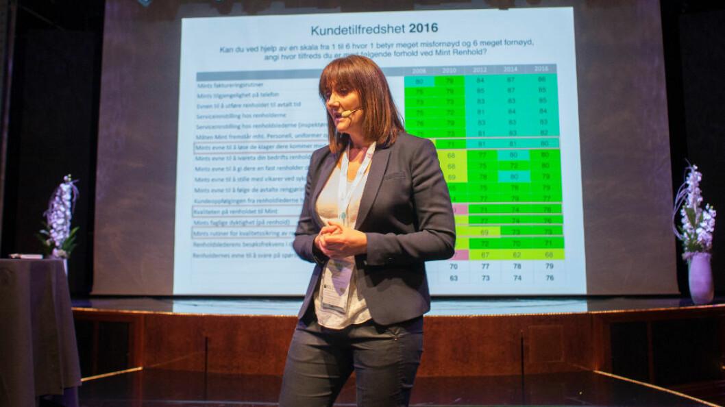 Lise Thun har ledet Mint i 17 år og alltid vært opptatt av høy kvalitet. Dette bildet ble tatt da hun presenterte resultatet av flere kundetilfredshetsundersøkelser under FDV-konferansen 2017.