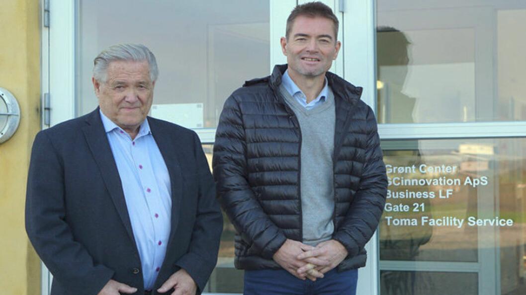 Tore Monsen og Rune Kristian Monsen er godt tilfredse med lokasjonen Holeby, som nå blir dansk hovedkvarter for 50 medarbeidere, etter at Tomagruppen har kjøpt RengøringsCompagniet. (Privatfoto)