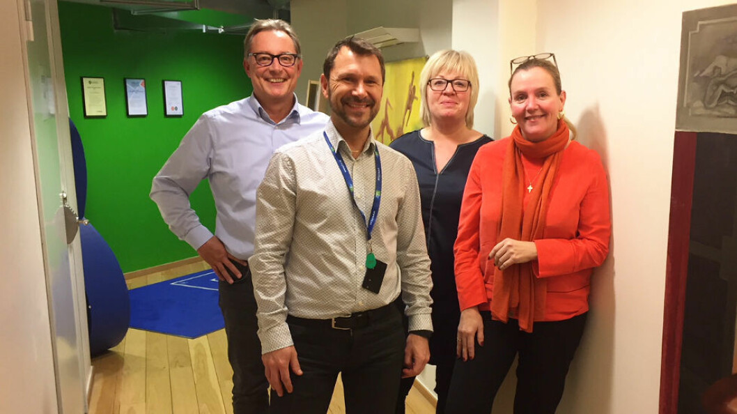 Nordisk bransjemøte i renhold. Fra venstre Per-Olof Ekstrøm (Finland), Mattias Lindholm (Sverige) og fra Norge: Lisbeth Aasland og Hege Wilsbeck.
