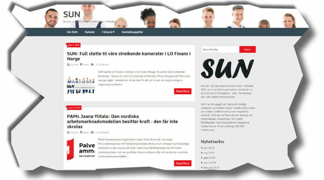 Faksimile fra den nye nettsiden til Service- og tjenestebransjens union i Norden (SUN).