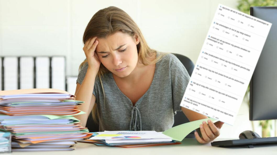 Testen er enkel å ta, og gir deg en pekepinn på om du sliter for mye i hverdagen. (Ill. etter Colourbox og Sahlgrenska)