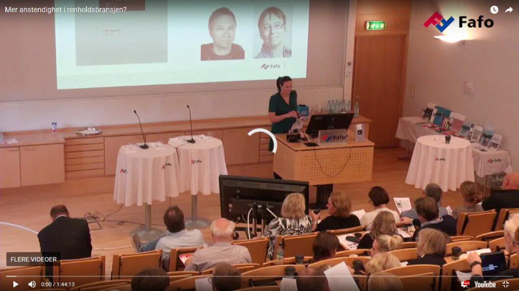 Stillbilde fra videoen der Fafo presenterer rapporten «Renholdsbransjen sett nedenfra». (Foto: Fafo)