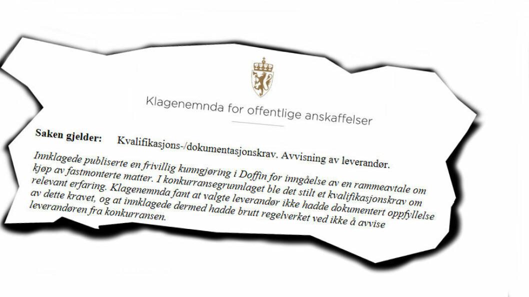 Faksimile fra Kofas avgjørelse vedrørende Malvik kommunes anskaffelse av matteløsning.