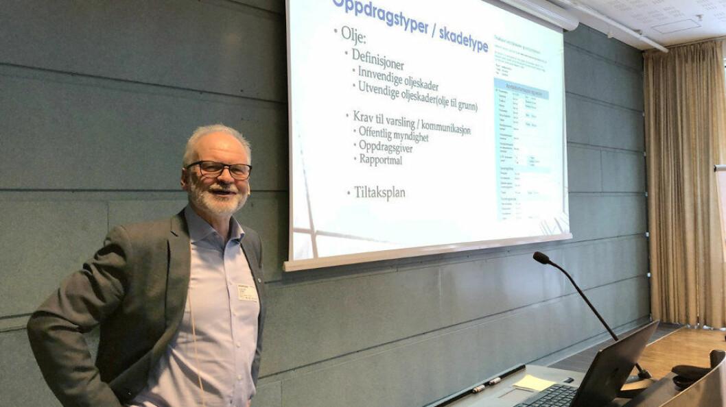 Sindre Ulvestad fra Polygon presenterte nye verktøy på vegne av bransjen. (Foto: Baard Fiksdal)