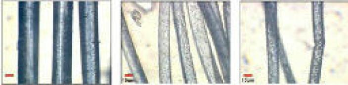 Moppetråder forstørret. Ny mopp til venstre. Skade pga. feil vaskeprosess til høyre.