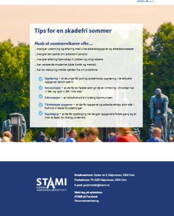 Stami har laget en oversikt m/gode råd for den som tar inn sommervikarer.
