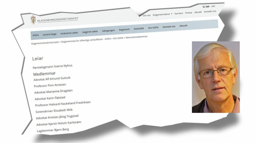 Førstelagmann Sverre Nyhus er blitt ny nemndsleder i KOFA. (Faksimilier etter KOFA.)