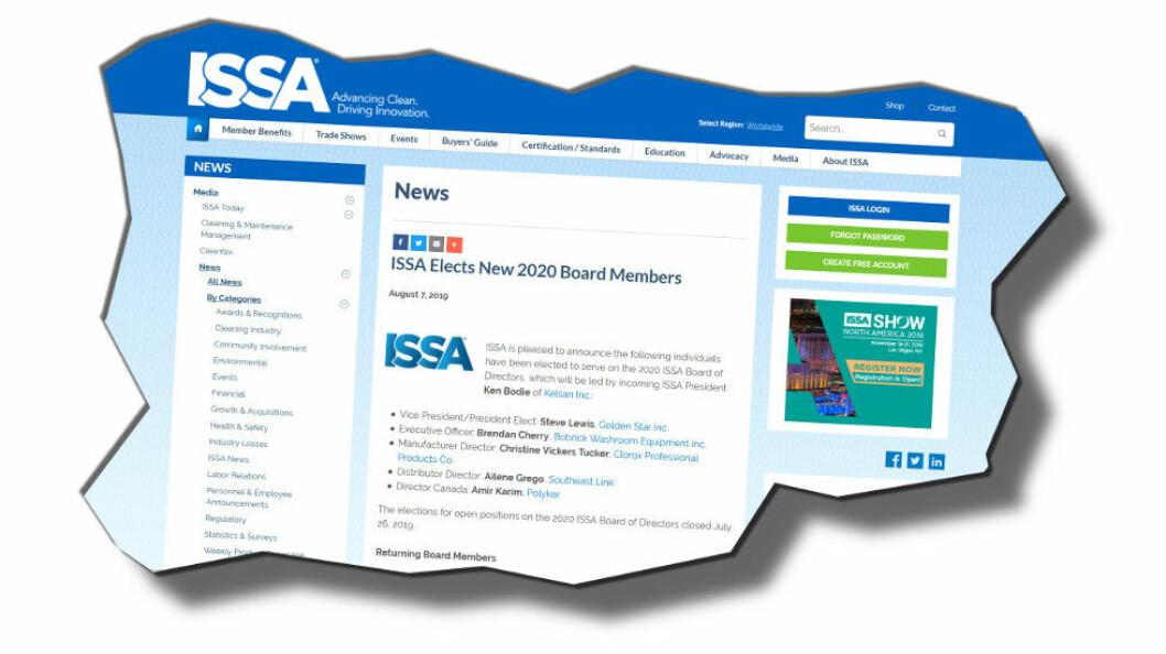 Leverandørforeningen ISSA har valgt nytt styre. (Faksimile etter ISSA)