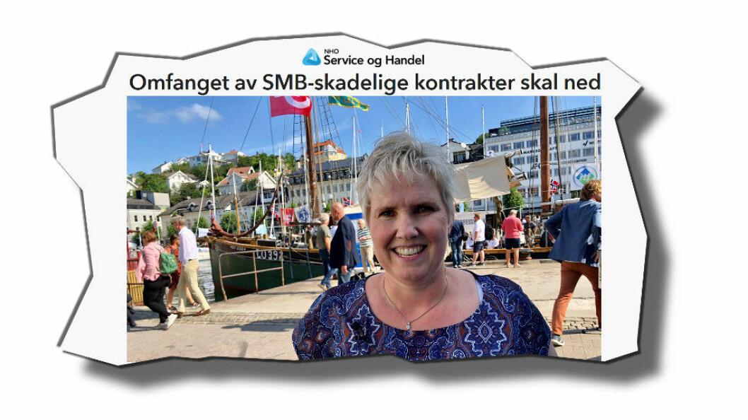 Marianne Knapstad vil gjerne være med og konkurrere på renholdskontrakter, men utestenges ved at anbudene stiller krav om f.eks. riksdekkende tjenester. (Faksimile etter NHO Service og Handel)