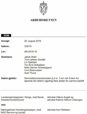 Arbeidsrettens sak 3/2019.