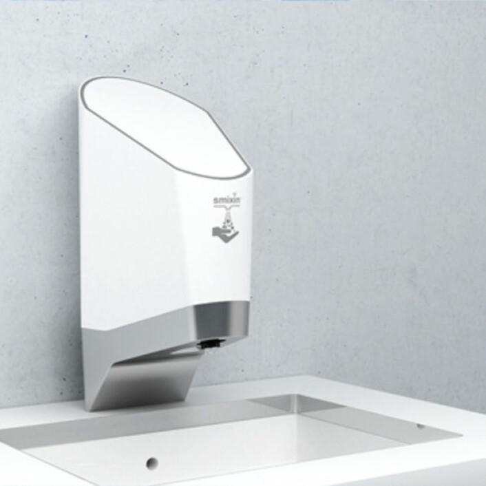 Smixin leverer «smarte» håndvaskeløsninger, blant annet denne 2-i-1-løsningen med såpe og vann i samme dispenser. (Foto: Smixin)