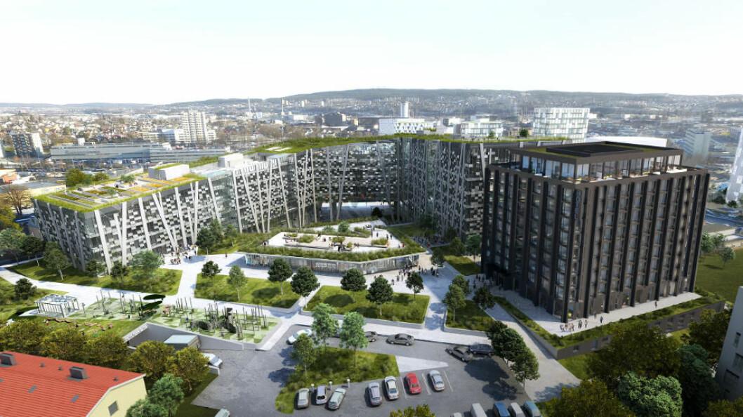 Det planlagte næringsbygget Økern Portal i Oslo.