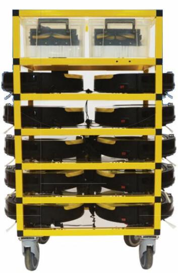 Transporttralle for en klynge med 10 Abbee-roboter. (Foto: TPLC)