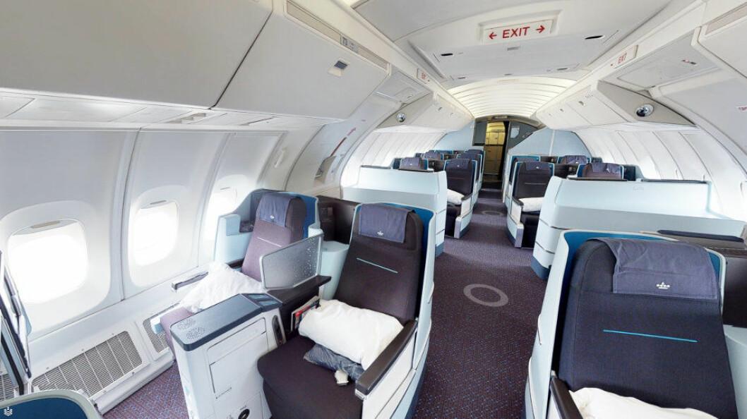 Med KLMs nye dataverktøy kan både renholdere – og du selv – utforske interiøret i kabinen før du går inn i flyet. Her ser vi fra en Boeing 747-400. (Ill.: Matterport)