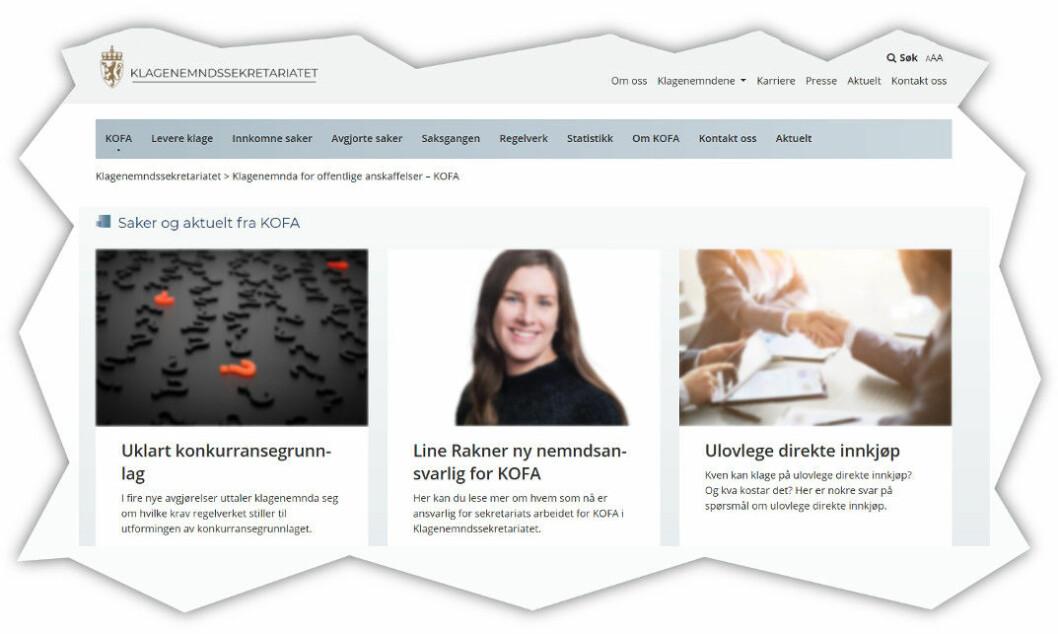 Faksimile fra Klagenemnda for offentlige anskaffelser (KOFA).
