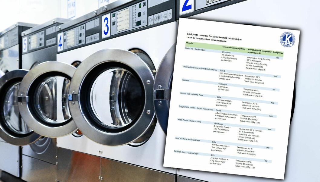 NVKs har lagt ut en liste over RKI- og/eller VAH-godkjente desinfeksjonsmetoder for kjemotermisk desinfeksjon ved vask av tekstiler.