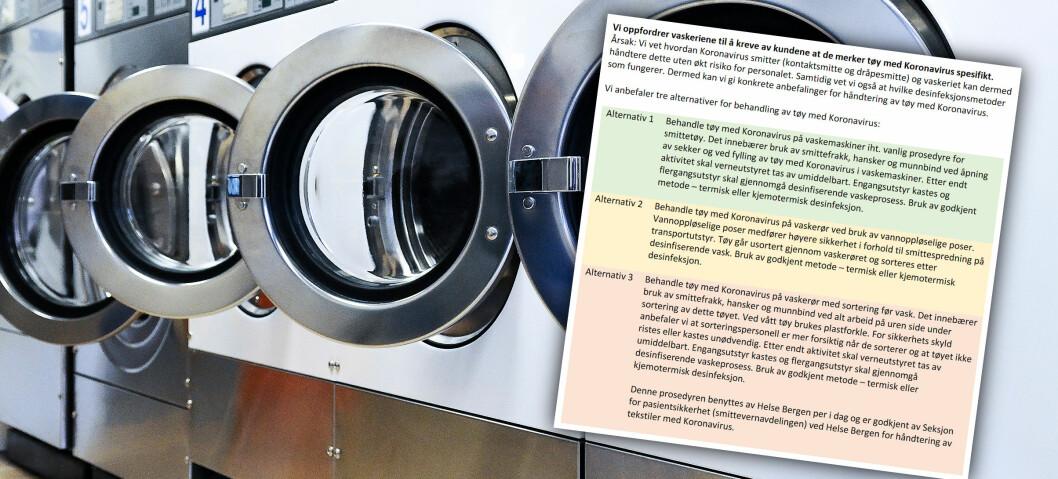 NVK har nå utgitt konkrete anbefalinger for håndtering av tøy med koronavirus.