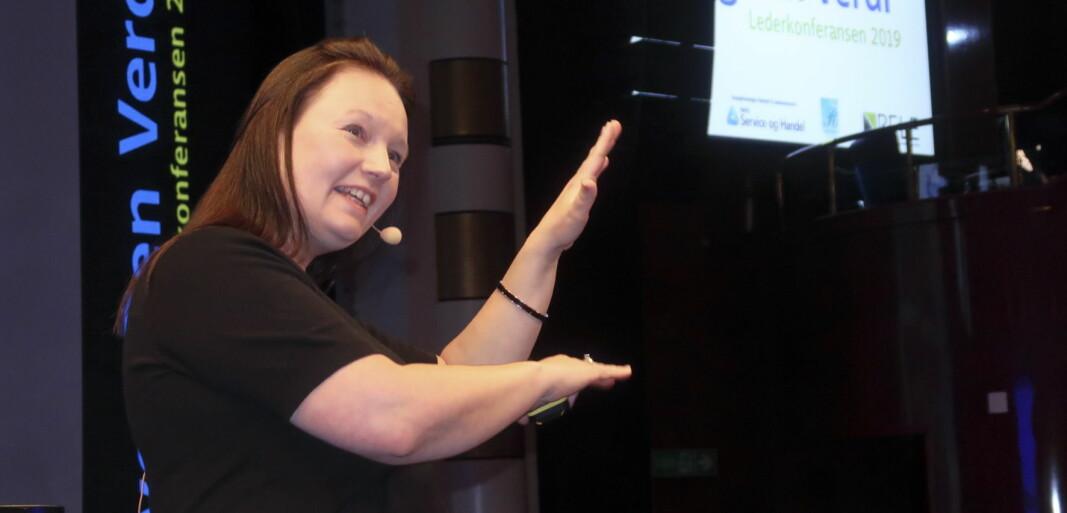 Ingeborg Malterud blir ny fagsjef for Renhold og fasilitetstjenester i NHO Service og Handel. Her fra foredrag under Bygg Ren Verdi 2019.