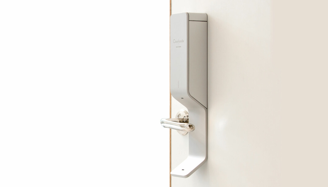 Apparatet sender en desifinserende liten dusj på dørhåndtaket ti sekunder etter berøring.