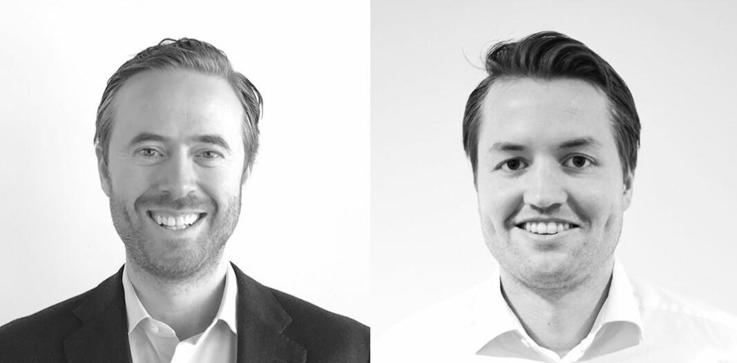 Stian Løken Blom (til venstre) og Georg Eikeland Schanche blir nye konserndirektører i Tomagruppen.