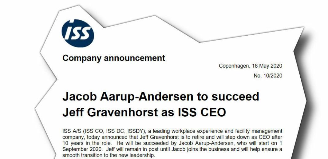 Jeff Gravenhorst, CEO i ISS A/S, vil fortsette å lede konsernet inntil Jacob Aarup-Andersen overtar 1/9-2020.