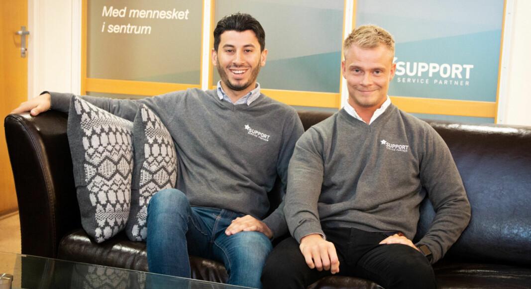 Ghazi Khder t.v. og Patrick Solrunarson fra Tønsberg startet rengjøringsfirmaet Support Service Partner AS som 17-åringer. Som 25-åringer jobber de nå for å bli en internasjonal aktør.