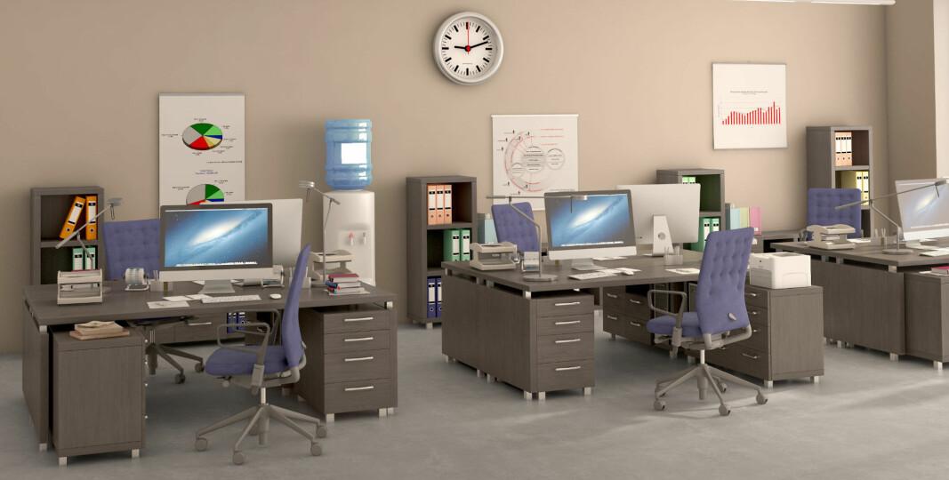 Et kontor uten faste plasser krever hyppigere renhold av arbeidsplassene.