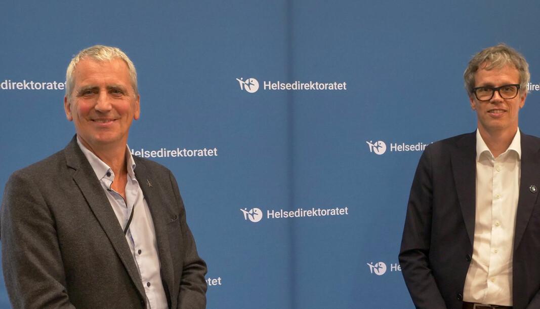 Assisterende helsedirektør Olav Slåttebrekk (t.v) og administrerende direktør Jacob Mehus, Standard Norge.