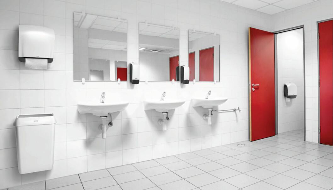 Hygienen kan høynes ved for eksempel å utstyre toalettrommene med berøringsfrie dispensere med såpe og papir som varer i mange besøk.