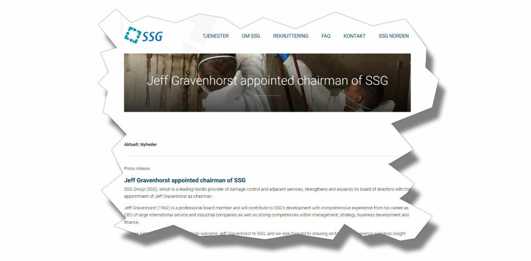 Gravenhorst har tidligere vært konsernsjef for ISS, og blir nå styreleder i SSG Group.