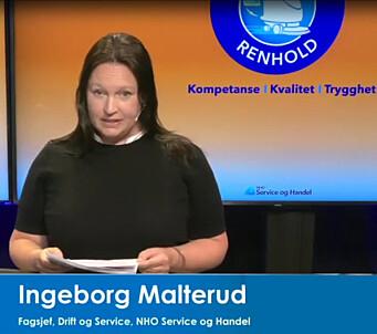 Fagsjef Ingeborg Malterud i NHO SH under lanseringen.