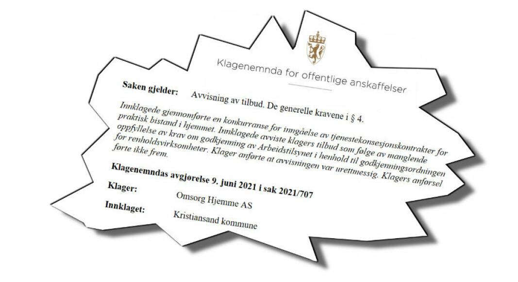 KOFA har frikjent Kristiansand kommune for å ha avvist et tilbud fra bedriften Omsorg Hjemme AS.
