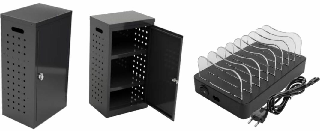 Låsbart ladeskap RP 100 for oppbevaring og lading av småelektro. Rommer opptil 32 mobiler eller nettbrett.
